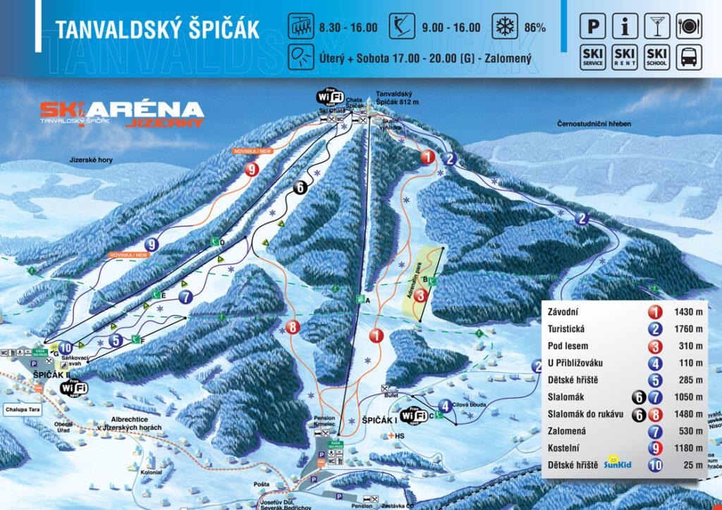 mapa skiareál